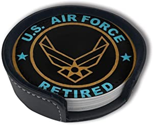 CZZD Us Air Force Retired Luxury Coasters Protect Furniture from Water Marks Scratch and Damage,Suitable for All Kinds of Cups,Set of 6