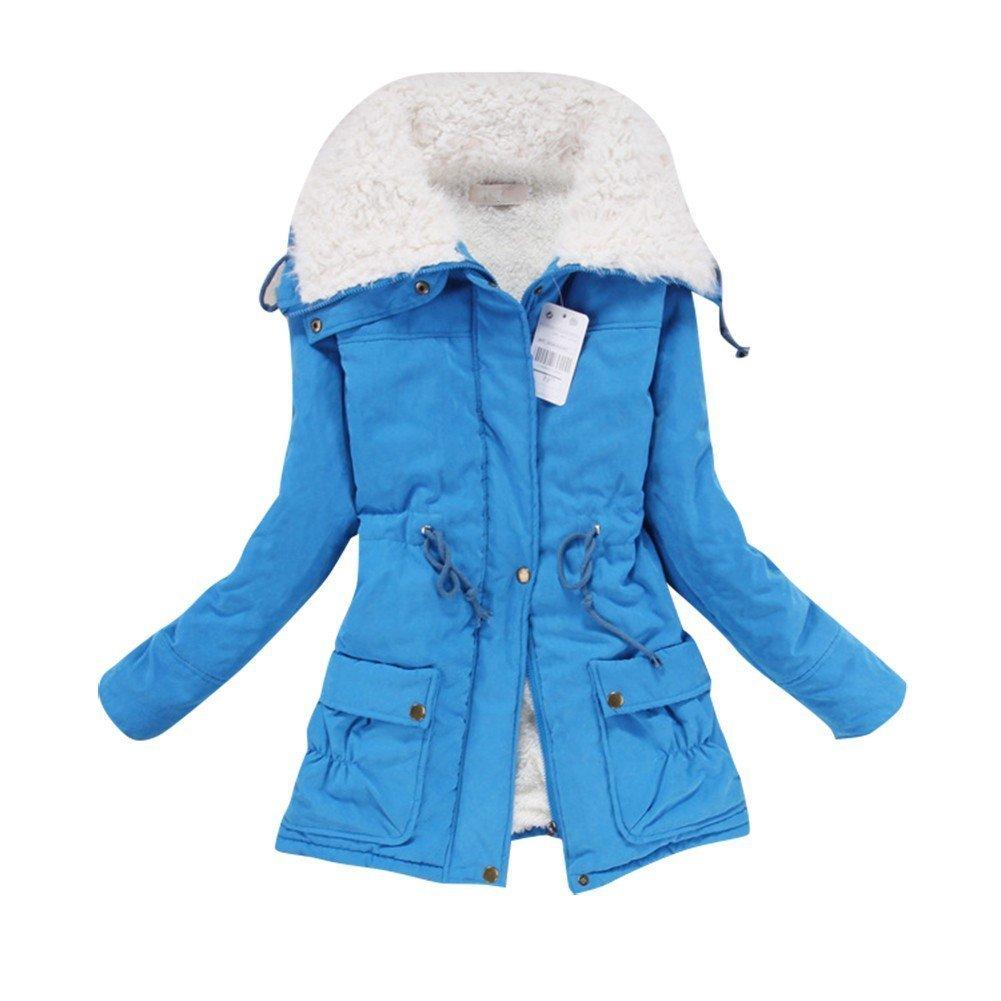 Liran Women's Winter Warm Wool Cotton-Padded Coat Parka Long Outwear Jacket US Large Blue