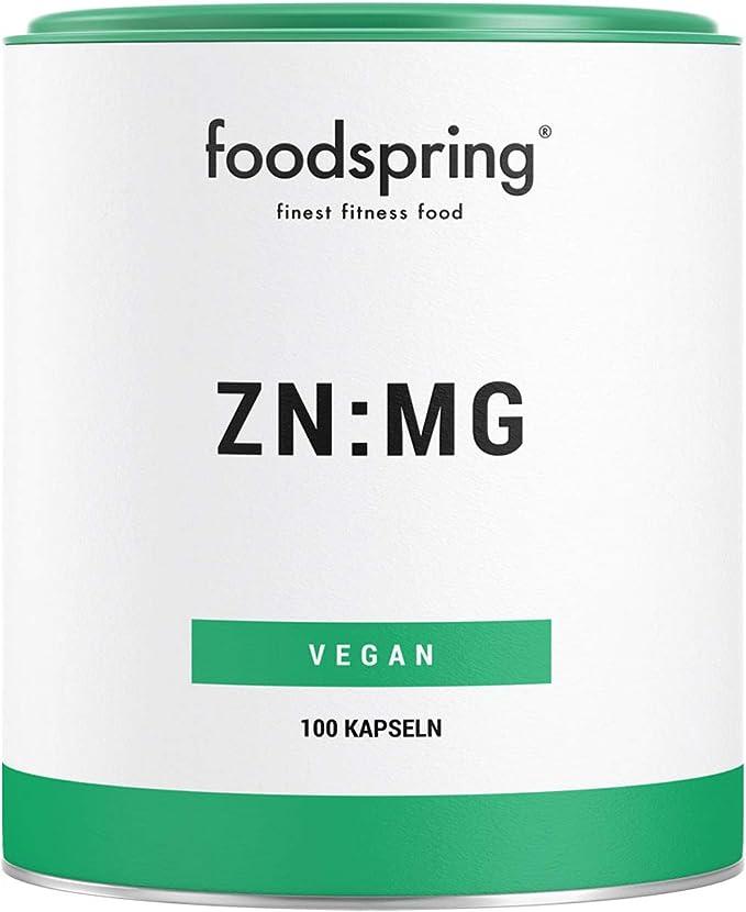foodspring Zinc y Magnesio, 100 cápsulas, Suplemento ...