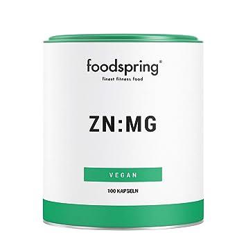 foodspring Zinc y Magnesio, 100 cápsulas, Zinc y magnesio para un ...