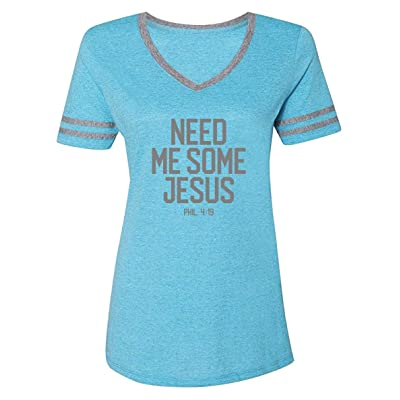 Blessed Girl Women's Varsity T-ShirtNeed Some JesusCarribean Blue Heather/Oxford at Women's Clothing store