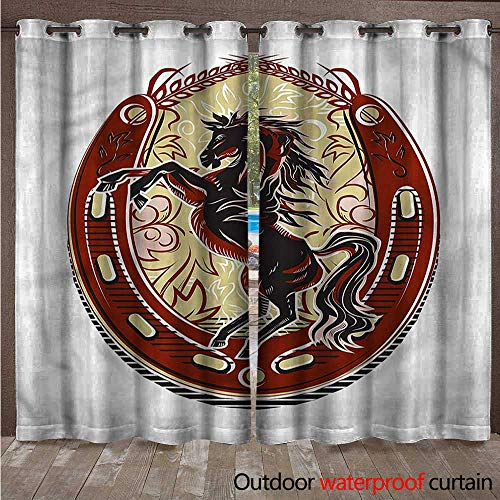 cobeDecor Horseshoe Home Patio Outdoor Curtain Rampant Horse Stallion W96 x L108(245cm x 274cm)