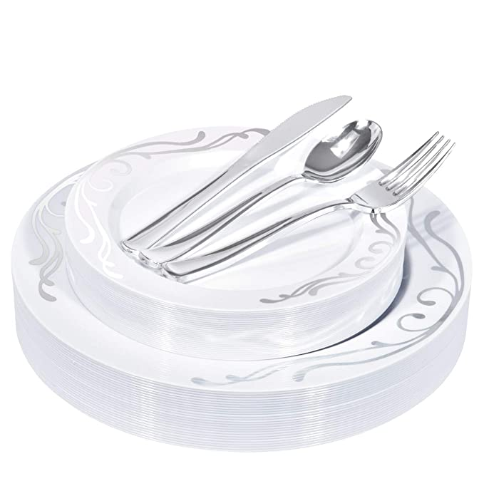 125 Pc. Silver Plastic Plates with Plastic Cutlery - 25 Plastic Dinner Plates, 25 Plastic Appetizer Plates, 25 Silver Plastic Forks, 25 Silver Plastic Spoons, 25 Silver Plastic Knives (Silver Scroll)