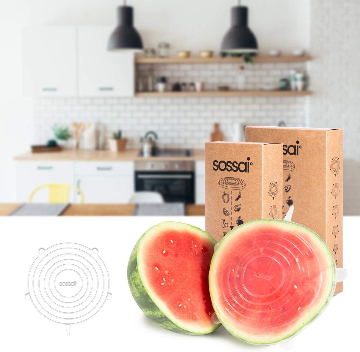 Film /étirable Alternatif Couvercle Extensibles en Silicone Sossai 5 x Stretch Lids Utilisation Universelle dans la Cuisine et Le m/énage diam/ètre: 210 mm