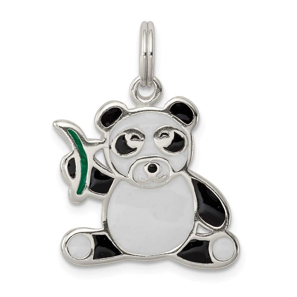 10mm x 25mm Jewel Tie 925 Sterling Silver Enameled Panda Bear Pendant Charm