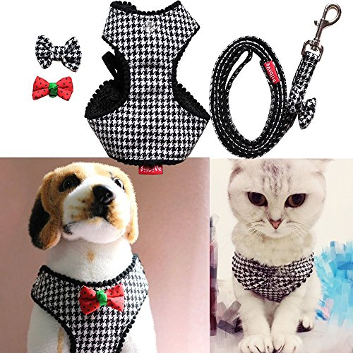 Bro'Bear Adjustable Houndstooth Pet Harness and Leash Set, Small, Black (Houndstooth Leash)