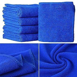 5Pcs 30x30cm Blue Soft Absorbent Wash Cloth Car Auto Care Microfiber Cleaning Towels