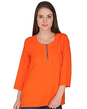 4ba886d68ff indietoga Women Crepe Boat Neck Solid Orange Front Zipper Long Sleeves  Casual top for Girls-