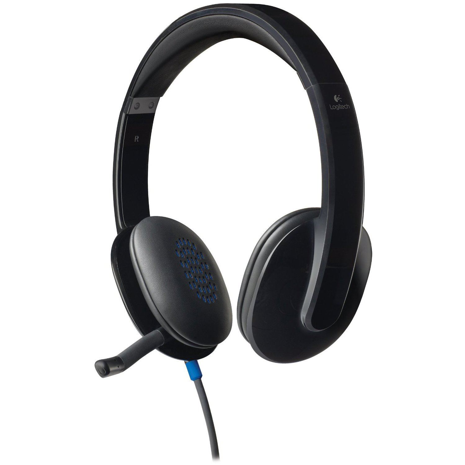 Logitech H540 Plug & Play USB Wired Stereo Headset w/Boom Microphone - Black (Certified Refurbished)