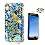 STENES iPhone 7 Case - [Luxurious Series] 3D Handmade Crystal Sparkle Bling Case With Screen Protector & Retro Bowknot Anti Dust Plug - Pretty Crystal Peacock Rose Flowers/Blue