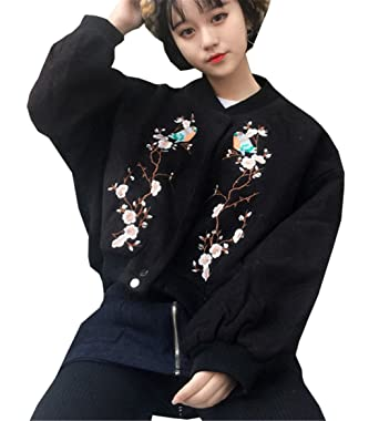 on sale db227 672f0 COCO clothing Kurz Bestickt Blumen Bomberjacke Damen Strick ...