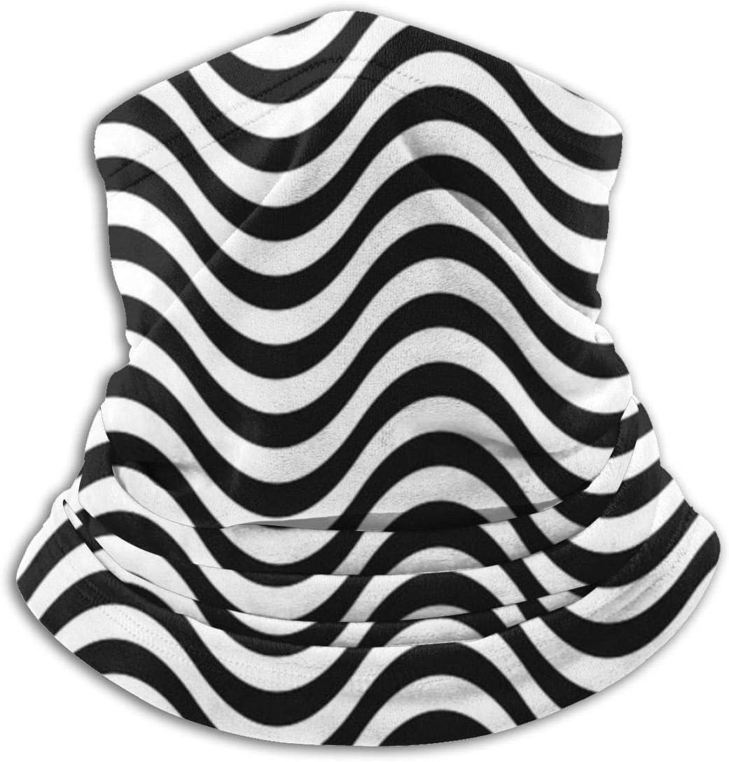Hancal Wavy Sea Water Stripe Sombreros en Blanco y Negro Cuello Polainas Calentador Invierno Tubo de esquí Bufanda Máscara Forro Polar Funda a Prueba de Viento