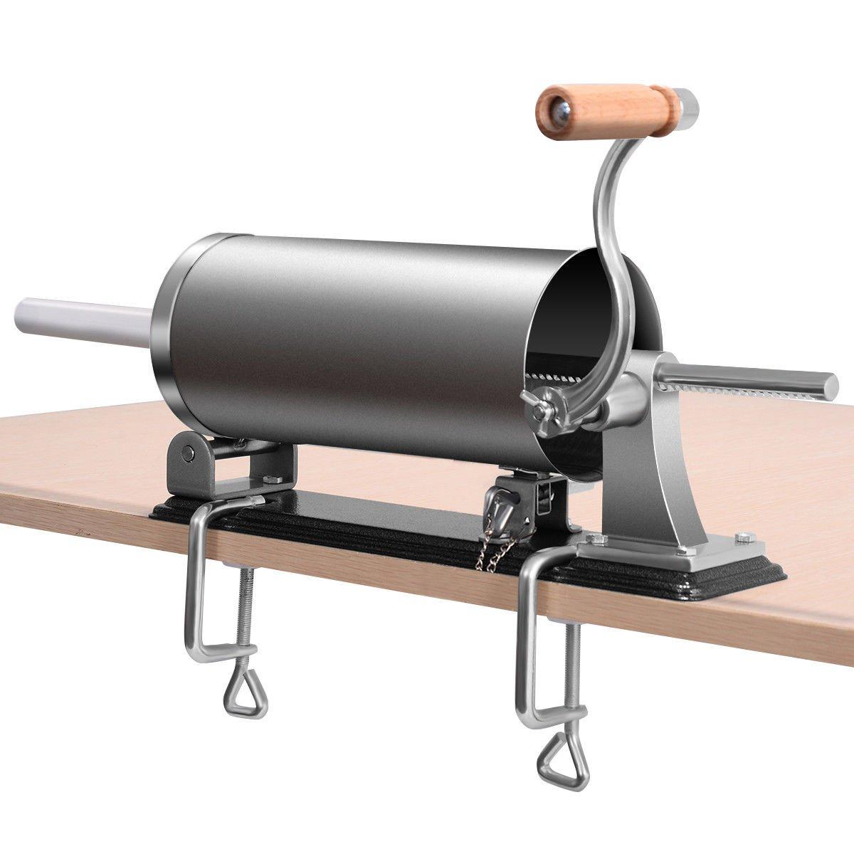 GHP Home/Industrial Stainless Steel & Aluminum 4.8L Horizontal Sausage Stuffer Maker