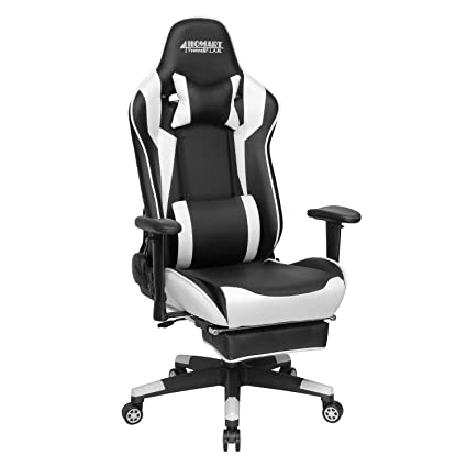 Pleasant Gaming Chair High Back Ergonomic Style Racing Chair Leather 180 Degree Reclining Computer Chair 360 Degree Swivel Adjustable Office Chair Footrest Andrewgaddart Wooden Chair Designs For Living Room Andrewgaddartcom