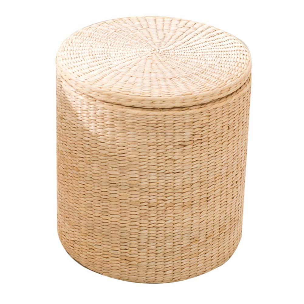 A 38x38x41cm LSXIAO Pouffes And Footstools Circular Structure Storage Stool Big Space Hand Made Lining Washable, 2 colors (color    B1, Size   38x38x41cm)