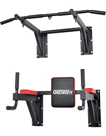 205923479 OneTwoFit Multifunctional Wall Mounted Pull Up Bar Power Tower Set Chin Up  Station Home Gym Workout
