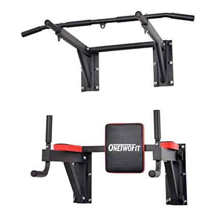OneTwoFit Multifunctional Wall Mounted Pull Up Bar Power Tower Set Chin Up  Station Home Gym Workout c4e786851e80