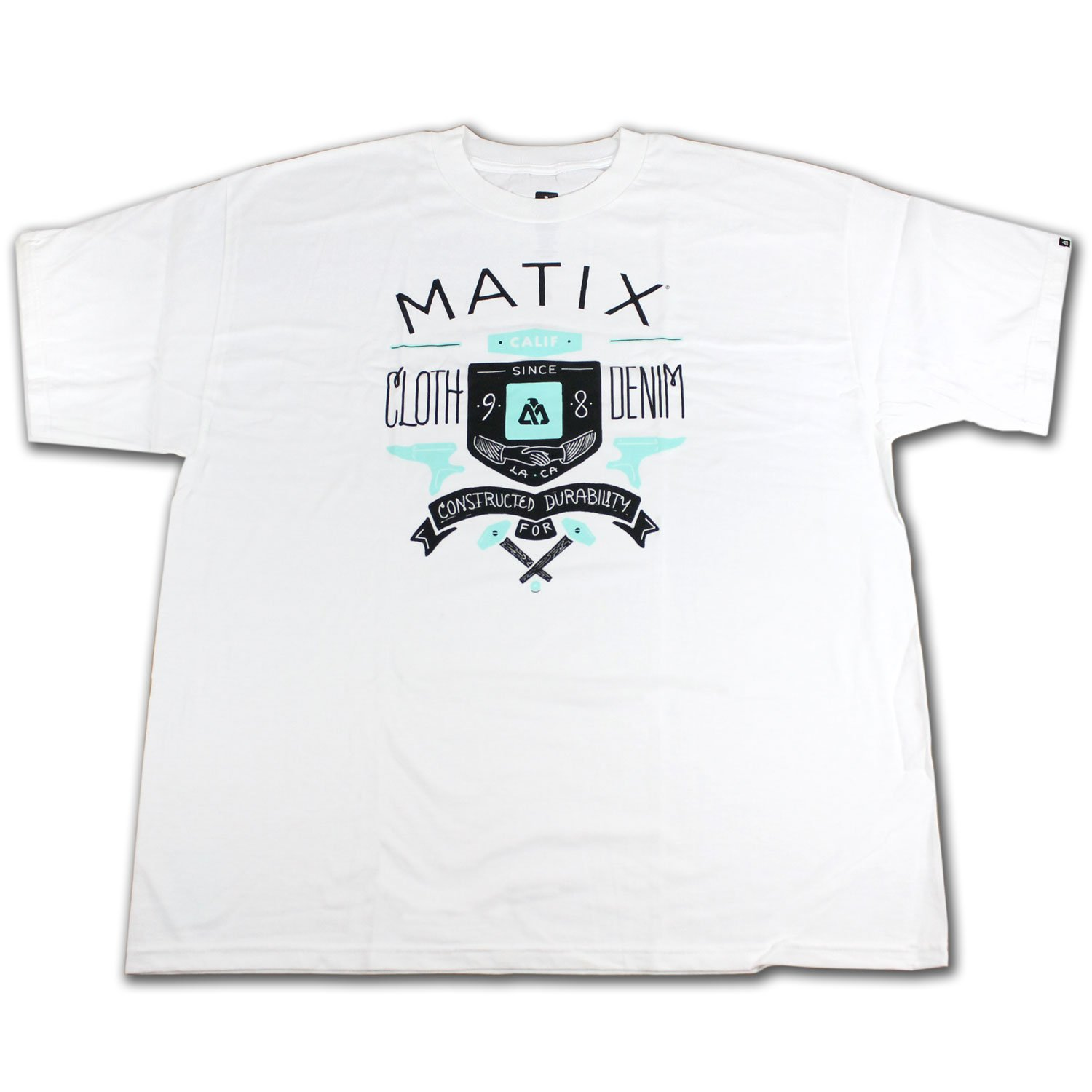 MATIX Skateboard T-SHIRT DURABLE WHITE SZ: 2XL (XXL)