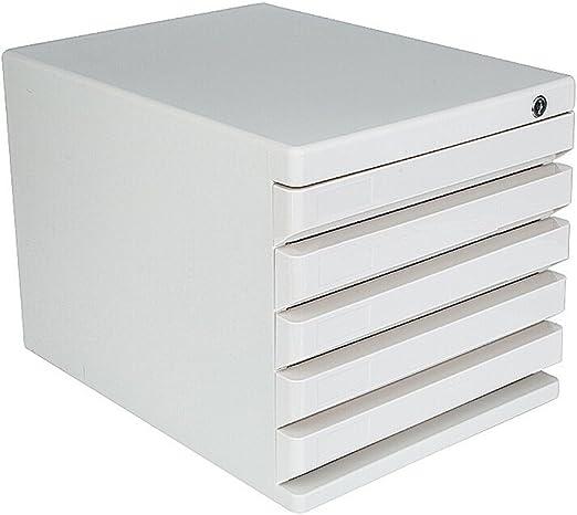 Archivadores Cajas de Archivo de Escritorio Tipo de cajón de plástico con Cerradura 5 Capas Blancas: Amazon.es: Hogar
