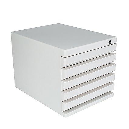 Archivadores Cajas de Archivo de Escritorio Tipo de cajón de plástico con Cerradura 5 Capas Blancas