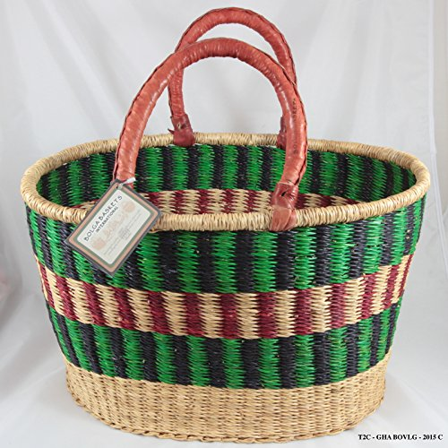 Bolga Baskets International Large Oval w/ Two Leather Wrapped Handles (Colors Vary) by Bolga Baskets International
