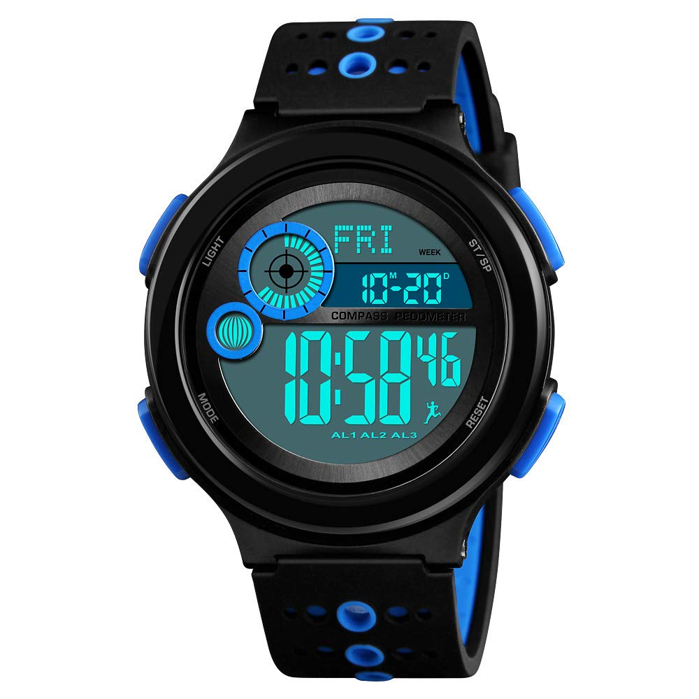 IWOCH Boys' Watches, Huge Dial Cool Chirstmas Gifts 100M Waterproof Sports Casual Wristwatch for Boys Girls Youth Ages 11-15 Blue