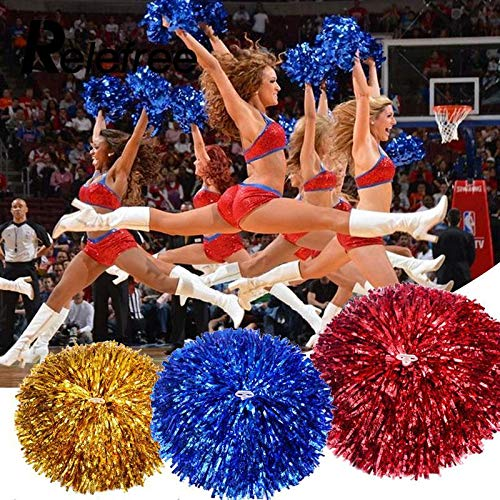 Cheerleading Pom Poms 3 Pair/Set Color Red Yellow Blue Funny Practical Cheerleading Pompoms Girl Apply to Sports Match and Vocal Concert Color -