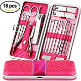 Teamkio Manicure Pedicure Nail Clippers Set Travel Hygiene Kit Stainless Steel Professional Cutter Care Set Scissor Tweezer Knife Ear Pick Tools Grooming Kits with Leather Case (18pcs, Pink)