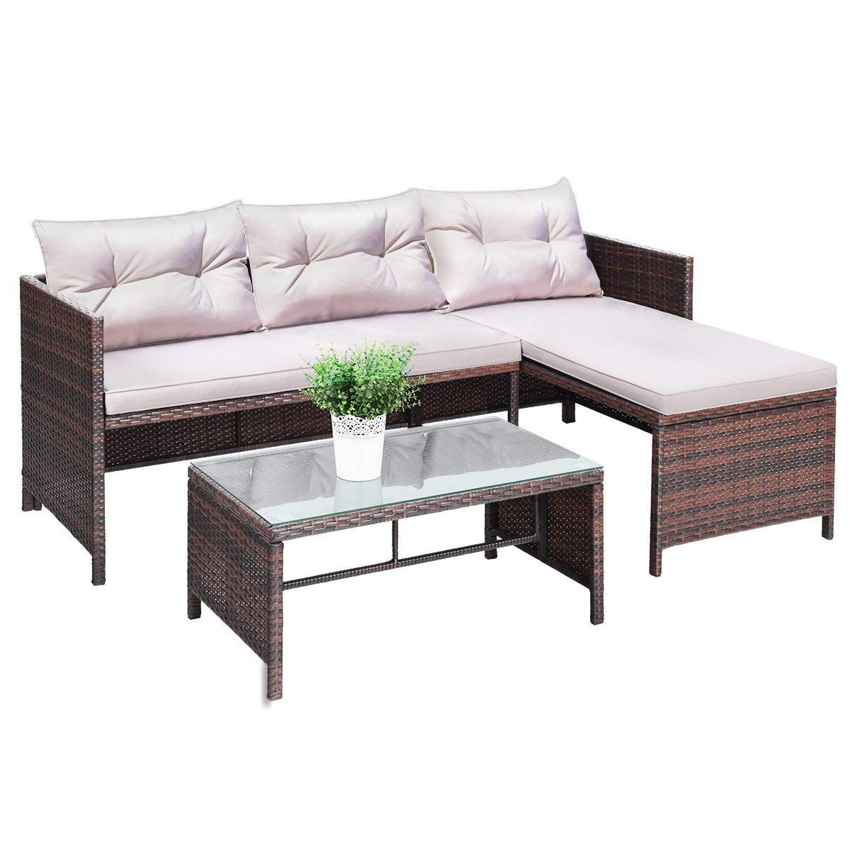 TANGKULA Patio Furniture Set, 3 Piece All Weather Resistant Steel Frame Construction Compact Wicker Lounge Chaise with Glass Top Coffee Table, Poolside Garden Lawn Balcony Patio Outdoor Wicker Furnitu