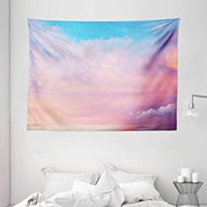 """Ambesonne Clouds Tapestry, Mystic Sky with Fluffy Clouds Heavenly Inspirational Hope Pastel Colored Nature Theme, Wide Wall Hanging for Bedroom Living Room Dorm, 80"""" X 60"""", Pink Blue"""