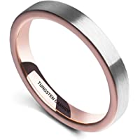 NaNa Chic Jewelry 3mm Domed Tungsten Carbide Ring Blue Silver Wedding Band Brushed for Men Women