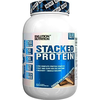 Evlution Nutrition Stacked Protein 908 g Proteína en Polvo con 25 Gramos de Proteínas, 5