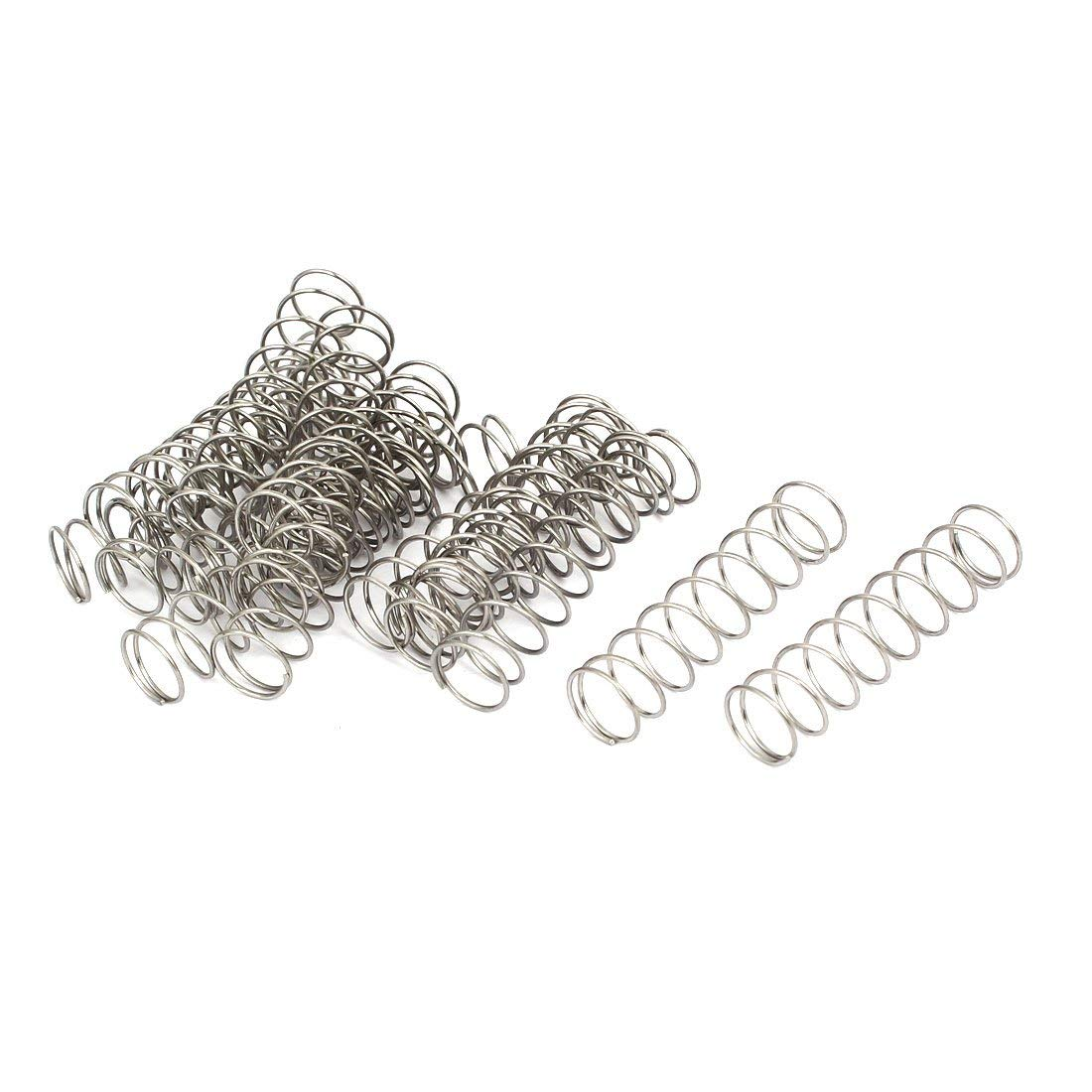 0.8mmx12mmx50mm 304 Stainless Steel Compression Springs Silver Tone 20pcs Miki&Co