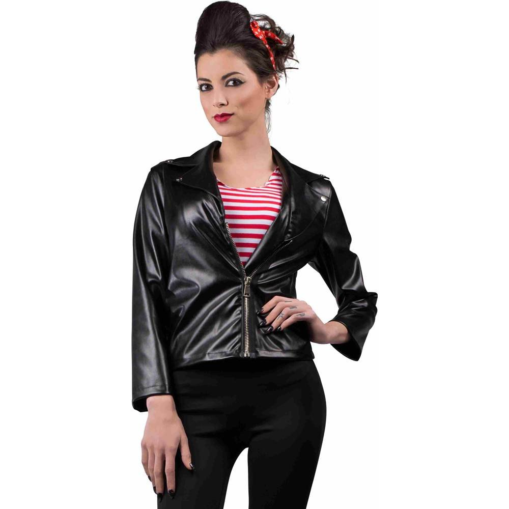 1950s Costumes- Poodle Skirts, Grease, Monroe, Pin Up, I Love Lucy Seeing Red Faux Leather Greaser Jacket Black Leather Jacket $32.36 AT vintagedancer.com