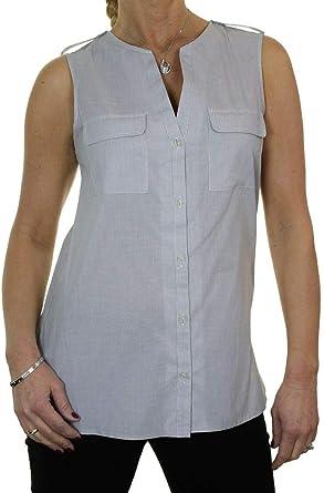 Camisa sin Mangas con Cuello Abierto para Mujer Top túnica 38-44: Amazon.es: Ropa y accesorios