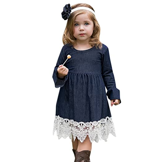 470bfe67a SUNBIBE👻Cute Baby Girls Kid Denim Floral Lace Dress Long Ruffle Sleeve Dress  Party Dress