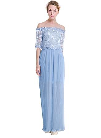 c21e2a4821f ACVIP Femme Chic Robe Longue Epaule Nu avec Dentelle aux Rayures Bleu Ciel  Eté pour Plage