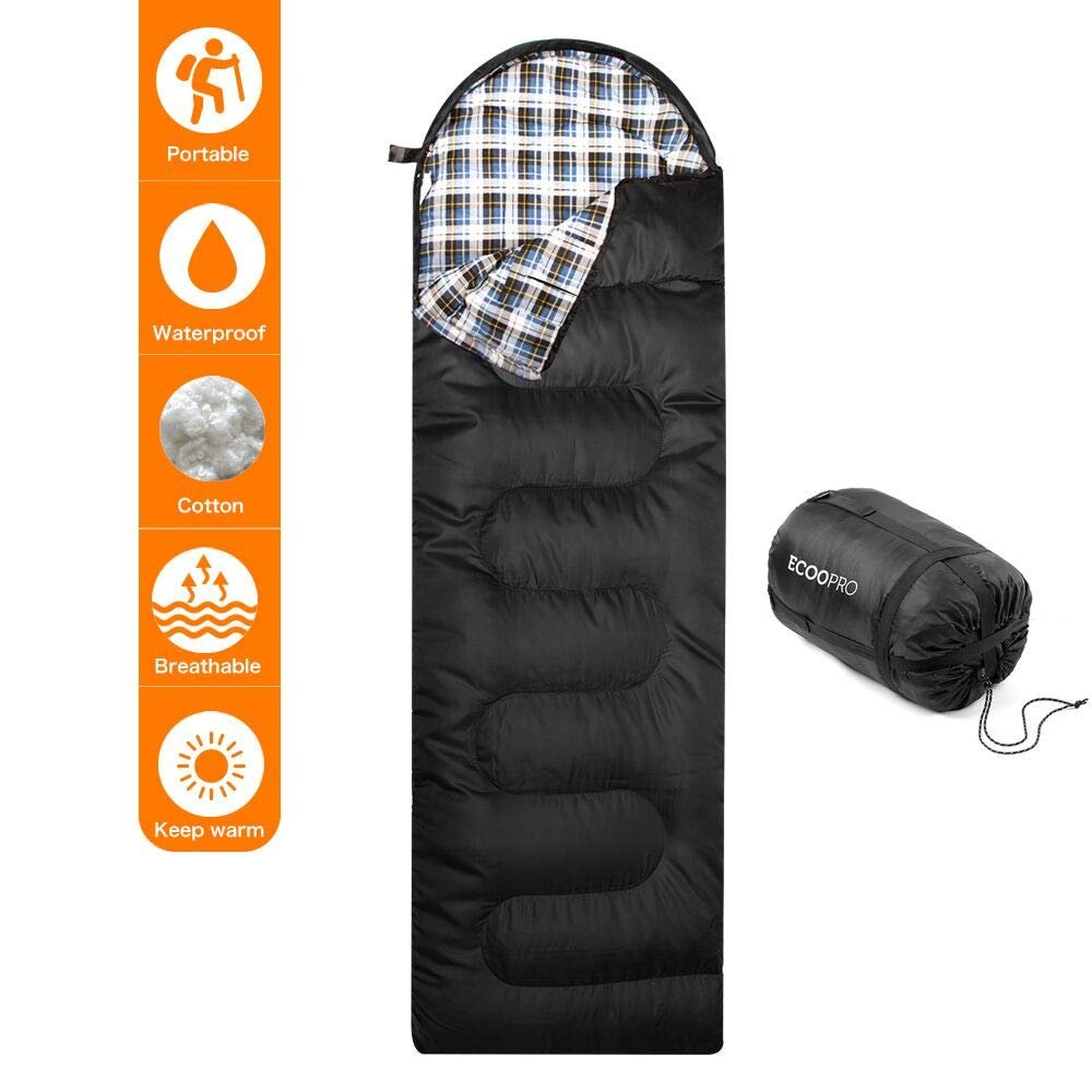 Elecfly Sleeping Bag with Compression Sack, Envelope Portable and Lightweight Cotton Flannel Sleeping Bag for 4 Season Camping, Hiking, Traveling, Backpacking and Outdoor Activities (86''L x 30''W)
