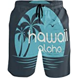 سينوي هاواي شاطئ ألوها بالم تريكس للرجال السباحة شورت شاطئ الرياضة المائية مع جيوب ملابس السباحة