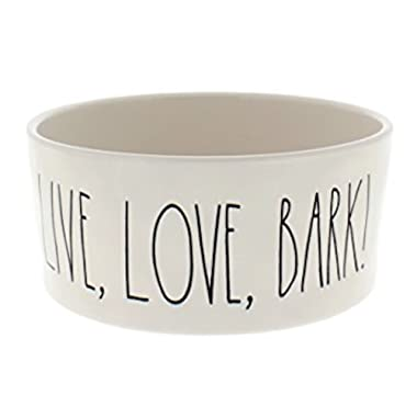 Rae Dunn Artisan Collection by Magenta- Designer Pet Bowl For Food or Water Embossed Live, Love, Bark Large 6 Inch Cream Stoneware