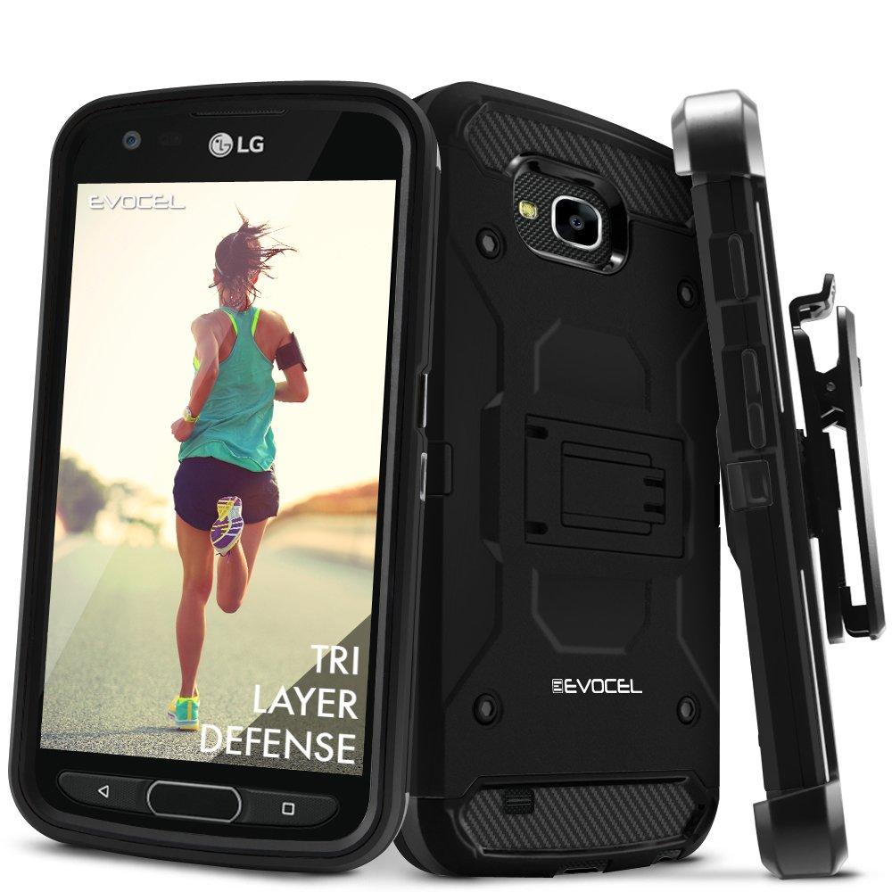 LG X Venture/LG X Calibur, Evocel [Trio Pro Series] Textured Body, Multiple Layers, Kickstand for LG X Calibur/LG V9 / LG X Venture (H700), Black (EVO-LGV9-HH11)
