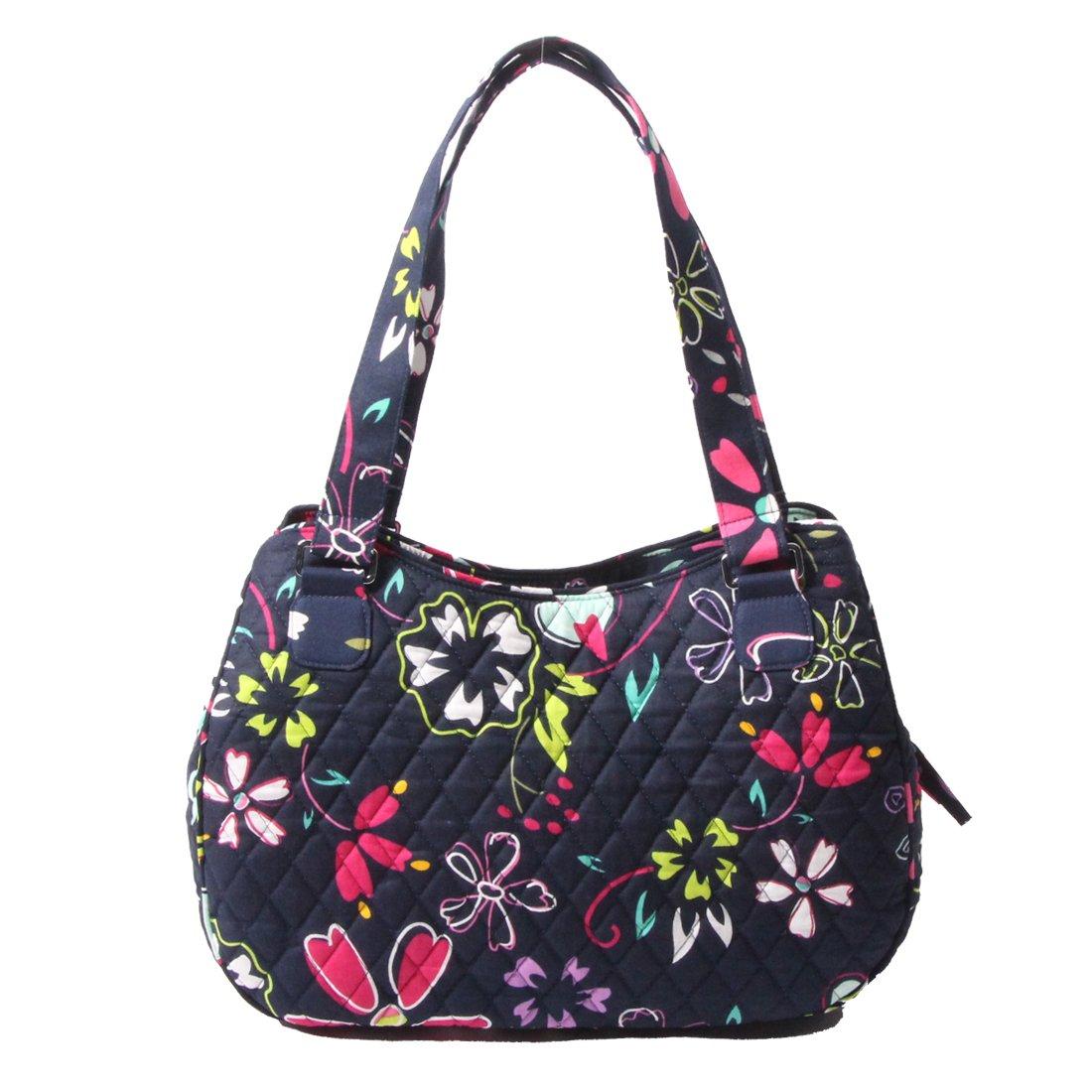 Quilted Cotton Handle Bags Shoulder Bag (Navy blue)