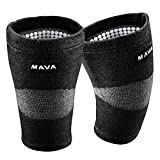 Mava Sports Reflexology Knee Support Sleeves (Pair) for Joint Pain and Arthritis Relief, Improved Circulation Compression (Black, Medium)
