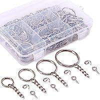 Swpeet 300Pcs Sliver Key Chain Rings Kit, 100Pcs Keychain Rings with Chain and 100Pcs Jump Ring with 100Pcs Screw Eye Pins Bulk for Jewelry Findings Making - 3/5 Inch, 4/5 Inch, 1 Inch, 6/5 Inch