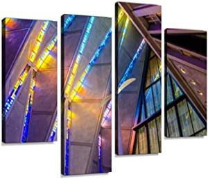 air Force Academy Chapel, Colorado Springs Stained Glass Patterns Wall Art Painting Pictures Print On Canvas Stretched & Framed Artworks Modern Hanging Posters Home Decor 4PANEL