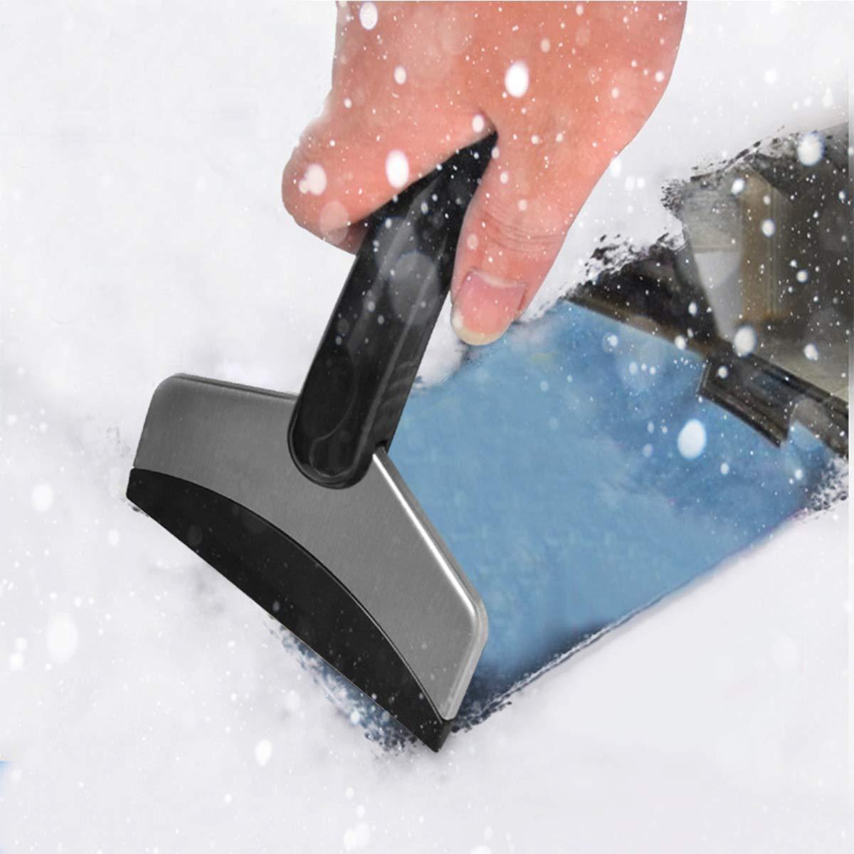 Color Negro ExeQianming Pala de Nieve de Acero Inoxidable para Limpiar Parabrisas de Coche y Ventanas Rascador de Hielo