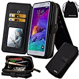 Galaxy Note 4 Case, DRUnKQUEEn Premium Zipper Wallet Leather Detachable Magnetic Case Purse Clutch with Black Flip Credit Card Holder Cover for N910 Samsung Galaxy Note4