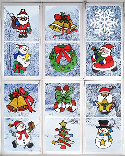 Benvo 12 Pack Christmas Decorations Holiday Window Clings Stickers Include Cute Santa Claus, Snowman, Christmas Tree, Bells, Snowflake, Candy Cane for Window Decor Xmas Festive Decorations -