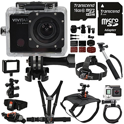 Vivitar DVR914HD HD 4K Video 16.1MP WiFi Waterproof Action Camera with Extreme Mounting Bundle for All Time Use Helmet, Bike, Chest, Wrist, Dog, Head Mounts and Underwater Housing - with US Warranty