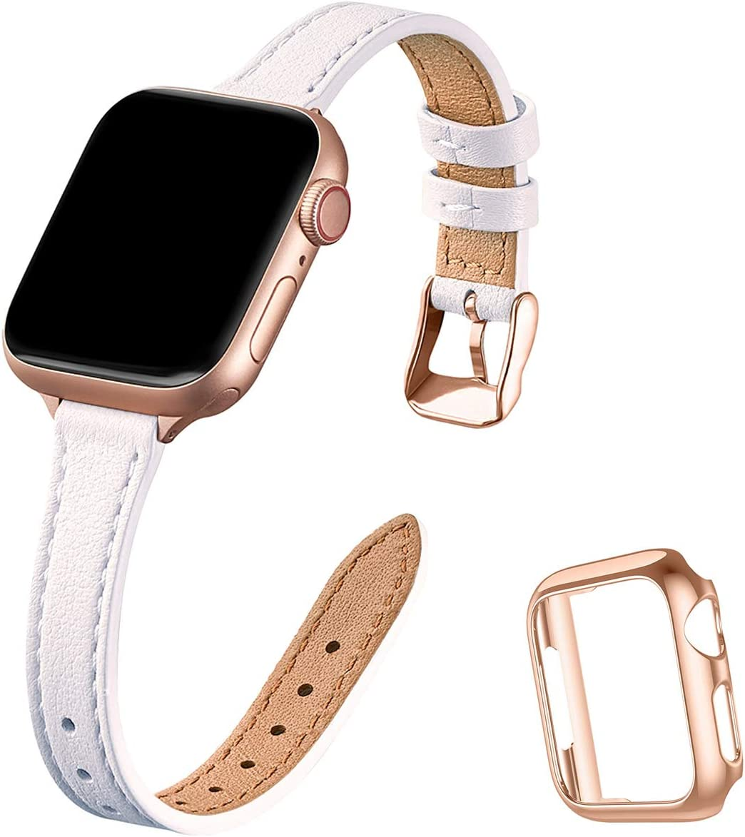 STIROLL Slim Leather Bands Compatible with Apple Watch Band 38mm 40mm 42mm 44mm, Top Grain Leather Watch Thin Wristband for iWatch SE Series 6/5/4/3/2/1 (White with Rose Gold, 42mm/44mm)